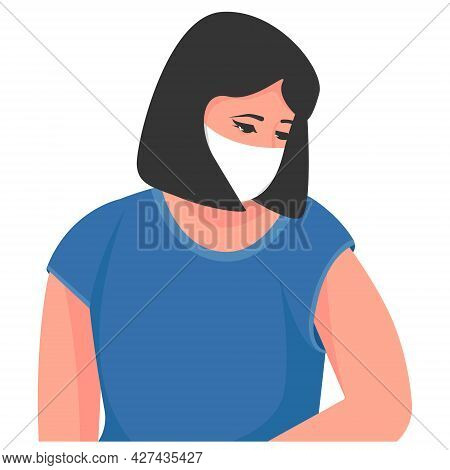 Masked Woman Sitting. Vector Illustration. Medicine Concept