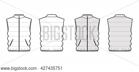 Down Vest Puffer Waistcoat Technical Fashion Illustration With Stand Collar, Zip-up Closure, Pockets