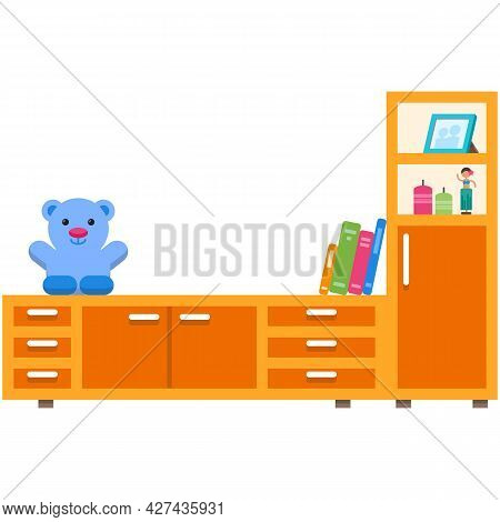 Chest Of Drawers Vector Furniture, Flat Wood Commode