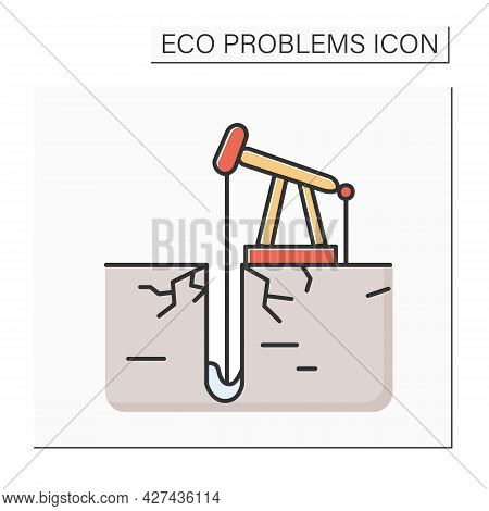 Industrial Drilling Color Icon. Oil Extraction With Derrick. Concept Of Resource Depletion, Mineral