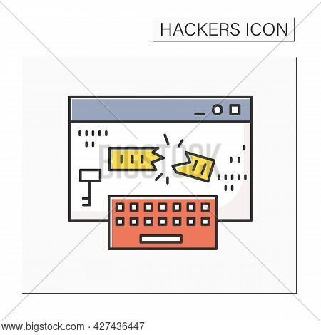 Keylogger Color Icon. Keyboard Input Logger Injection. Concept Of Safe Internet Browsing And Hacker
