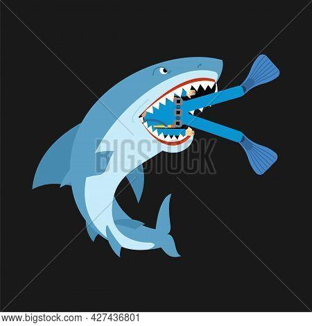 Shark And Diver. Marine Predator Ate Frogman. Diver's Death
