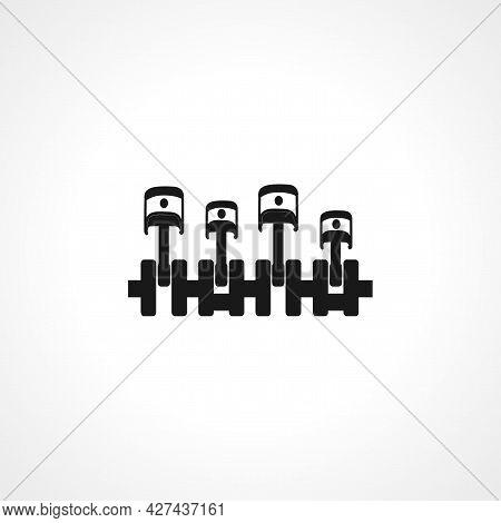 Car Engine Icon. Piston, Crankshaft, Cylinder Block, Internal Combustion Engine, Auto Service, Repai