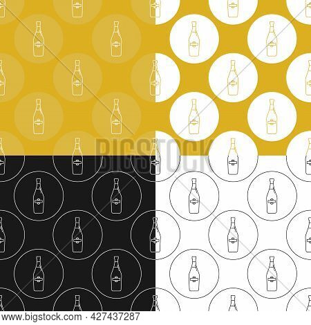 Four View Seamless Pattern Of Bottle Of Martini In Flat Style In Form Of Thin Lines. In The Form Of