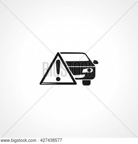 Car Warning Icon. Car Warning Maintenance Isolated Simple Vector Icon.