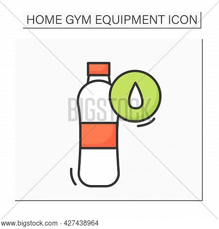 Water Bottle Color Icon. Sport Or Performance Drink With Liquid. Concept Of Hydration And Water Bala
