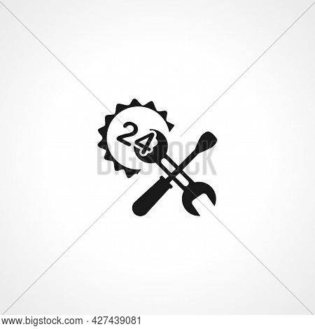 Wrench With Screwdriver Icon. 24 Hour Service Icon. Wrench With Screwdriver Isolated Simple Vector I