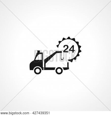 Tow Truck Icon. Tow Truck Isolated Simple Vector Icon. Tow Tow Truck 24 Hour Service Icon