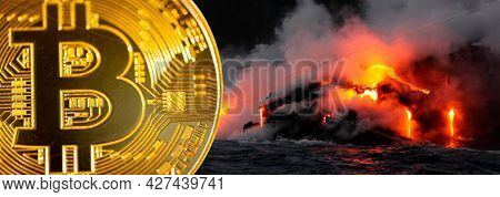 Sustainable bitcoin mining. Crypto Mining crypto currency using geothermal energy from volcano to minimize effect on climate change and environment. Cryptocurrency mining sustainability concept image.