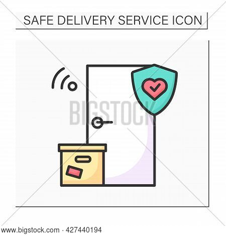 Safe Delivery Color Icon. Contact Less Door-to-door Order Delivery With Corona Virus Stop. Concept O