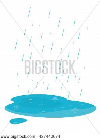 Falling Rain And Puddle. Autumn Weather. Isolated On White Background. Cartoon Style Vector Illustra
