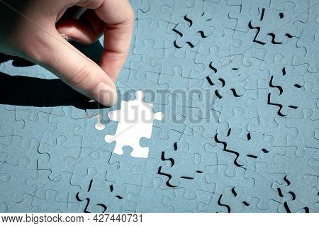 Put Together A Puzzle From Small Puzzle Pieces, Training Attention And Patience, The Concept Of Buil