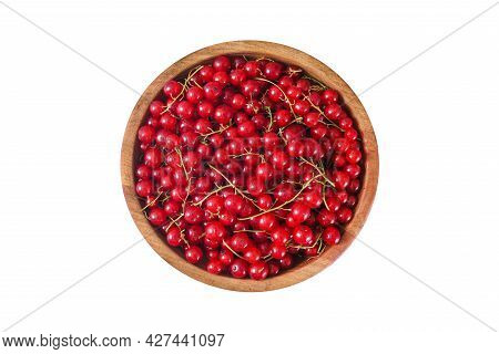 Fresh Red Currant In Wooden Bowl On Blue Background. Summer Fruit Berry. Healthy Fruits And Food