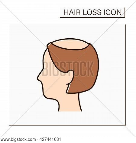 Hair Loss Color Icon. Woman Loses Hair. Thin, See-through Look On Top Of Scalp. Hair Thinning In Ver