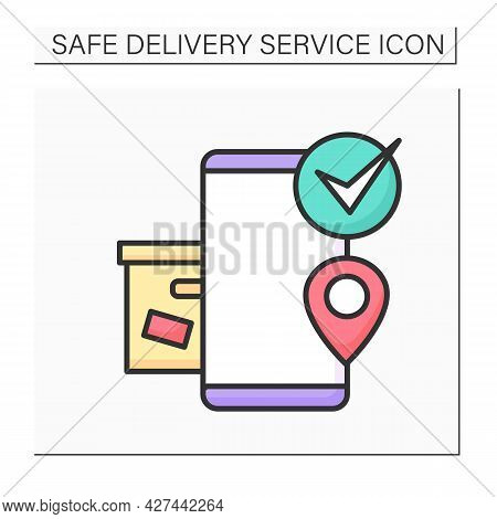 Order Pickup Color Icon. Smartphone With Box, Location Point And Check. Concept Of Safe Self Pick Up