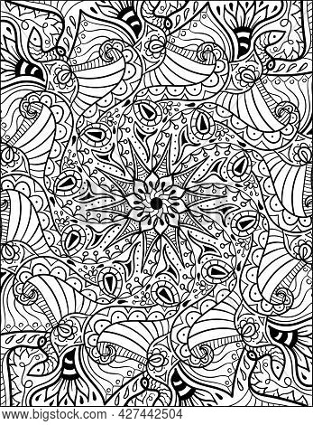 Vector Illustration Of Coloring Book Page. Abstract Floral Background Size 8.5x11 Inches
