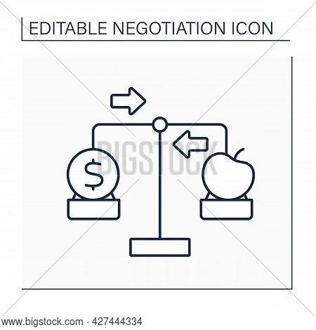 Trade Off Line Icon. Compromise. Balancing Of Factors.negotiation Concept. Isolated Vector Illustrat