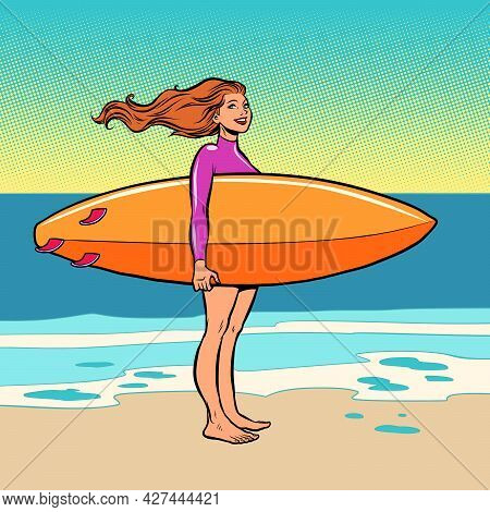 A Surfer Girl. Water Board Riding. Beach Ocean Waves And Sea