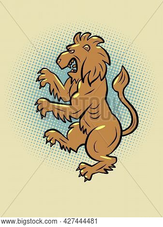 The Heraldic Lion. A Predatory Animal In An Upright Position With A Mouth And Paws