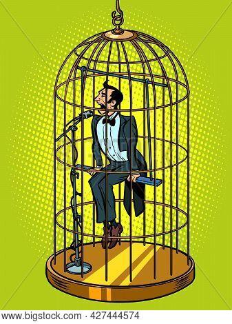 A Male Tenor Singer In A Bird Cage. Musical Voice Concept