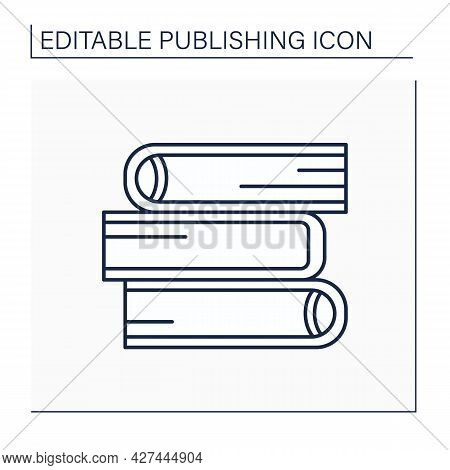 Hardback Line Icon.book Bound In Stiff Cover. Publishing Concept. Isolated Vector Illustration. Edit