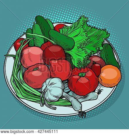 Fresh Vegetables On A Plate Tomato Garlic Onion Cucumber Salad