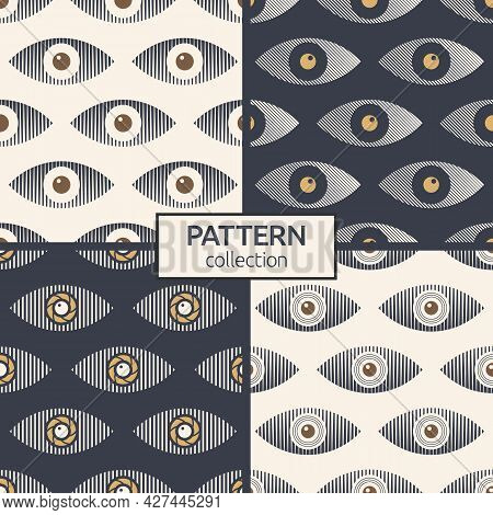 Set Of Four Abstract Seamless Eyes Patterns. Stylized Eye Shapes. Striped Eyes. Vector Color Illustr
