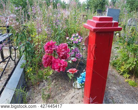 Artificial Multi-colored Flowers On The Grave. Overgrown With Grass Old Cemetery. Graves, Monuments