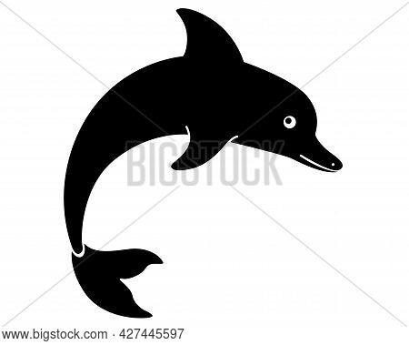Bottlenose Dolphin - Vector Stylized Silhouette Illustration For Logo Or Pictogram. Jumping Dolphin