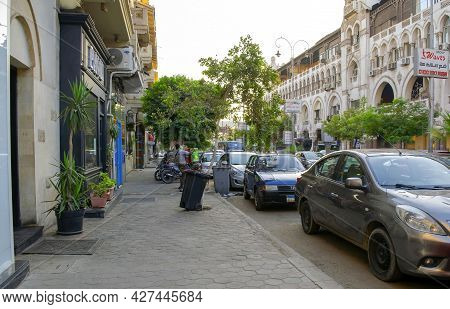 Cairo - Egypt - October 4, 2020: View Of Cairo Old Historical Residential District With Main Street,