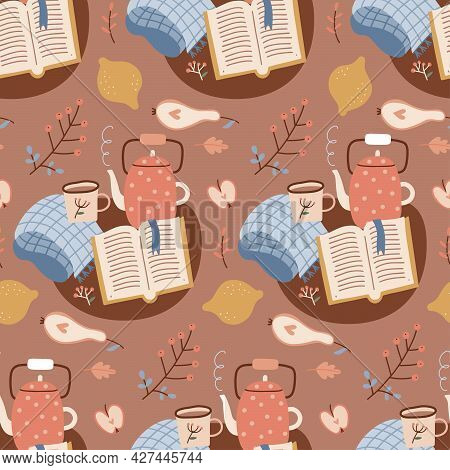 Seamless Autumn Hygge Pattern With Book, Teapot, Leaves, Cookies And Open Book On Brown Background.