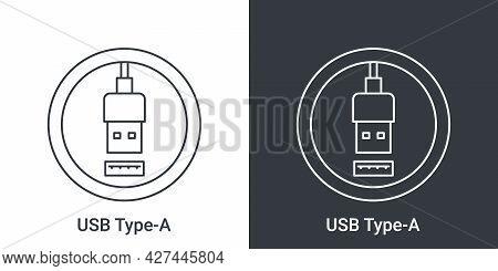 Usb Type A Port Icon. Socket Usb Plug In. Usb Connectors. Vector Illustration