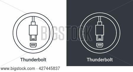 Thunderbolt Port Icon. Computer Connectors Signs. Connectors Icon. Vector Illustration