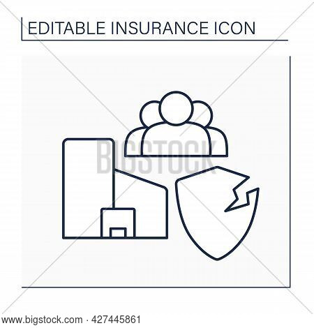 Public Liability Line Icon. Insurance For Businesses Of All Sizes, Across Variety Of Industries. Ins