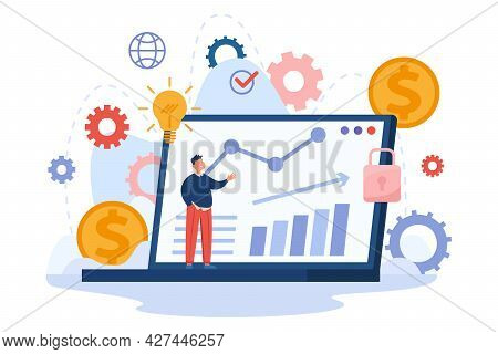 Tiny Cartoon Man On Laptop Background With Financial Charts. Flat Vector Illustration. Fund Charts,