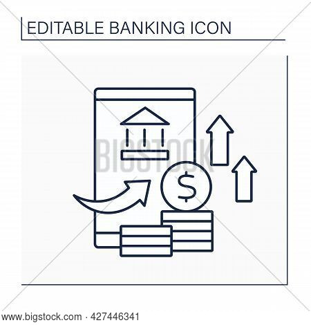 Overdraft Line Icon. Exceeding Credit Limit. Deficit In Bank Account. Banking Functions Concept. Iso