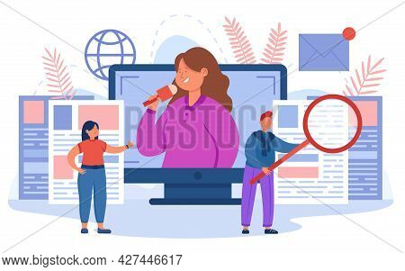 Tiny Cartoon Journalists Reporting From Scene. Flat Vector Illustration. Man, Women With Mic, Magnif