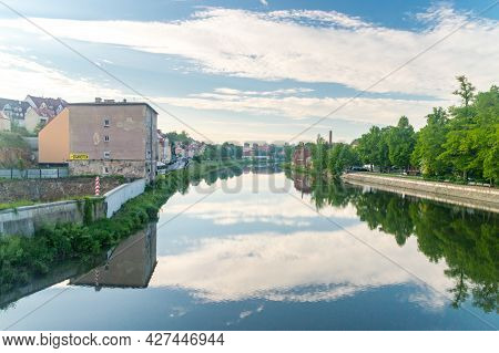 Gorlitz, Germany - June 2, 2021: Beautiful Morning View On Lusatian Neisse River On The Border Betwe