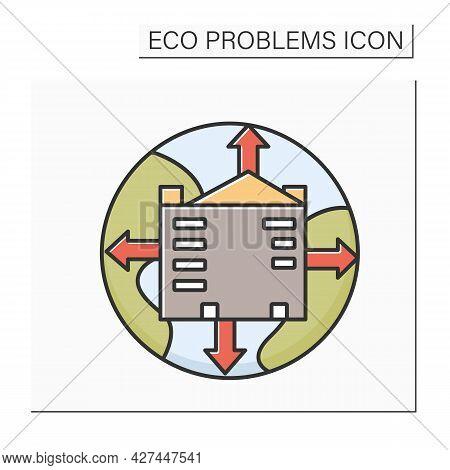 Urbanization Color Icon. Earth Globe With Growing City. Concept Of Urban Sprawl, Globalization. Envi