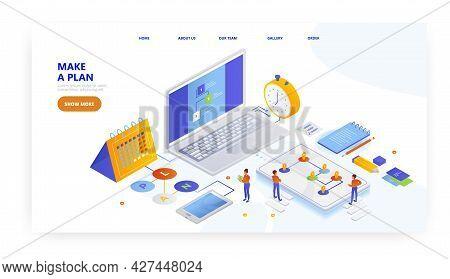 Make A Plan, Landing Page Design, Website Banner Vector Template. Schedule, Planner, Task Management