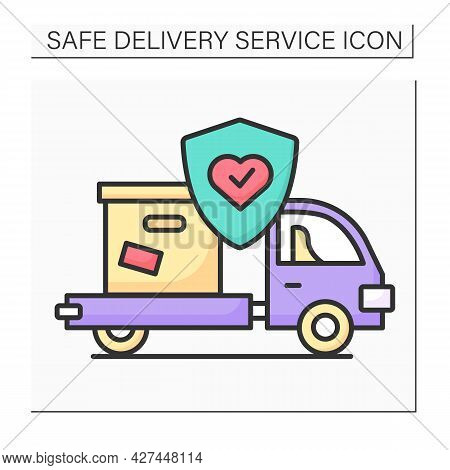 Delivery Truck Color Icon. Courier Pickup Car With Box And Corona Virus Stop. Order Delivery And Pos