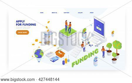 Apply For Funding, Landing Page Design, Website Banner Vector Template. Sources Of Finance For Start