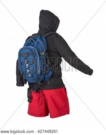 Backpack, Sweatshirt, Shorts Isolated On White Background.