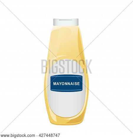 Mayonnaise In Glass Bottle. Jar With White Sauce. Condiment Container In Cartoon Style. Vector Illus