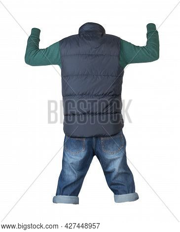 Denim Dark Blue Shorts, Knitted Sweater And Dark Blue Jacket Without Sleeves Isolated On White Backg
