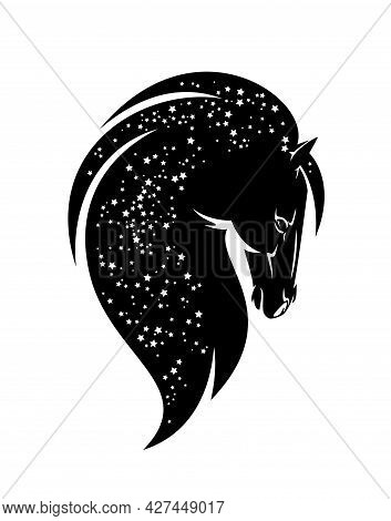 Wild Mustang Horse Spirit With Long Mane Filled With Night Starry Sky Black And White Vector Head Po