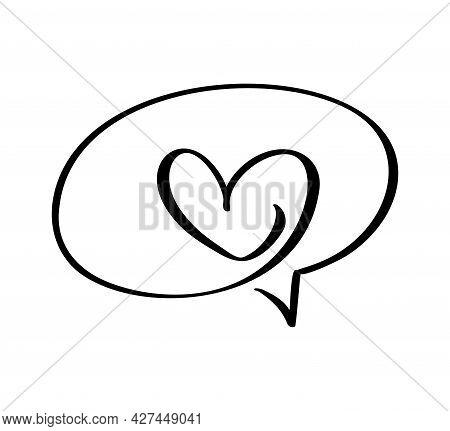 Calligraphy Heart Frame Bubble Cartoon Vector Illustration Logo Design Template Icon For Valentine D