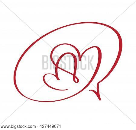 Calligraphy Two Hearts Frame Bubble Cartoon Vector Illustration Logo Design Template Icon For Valent