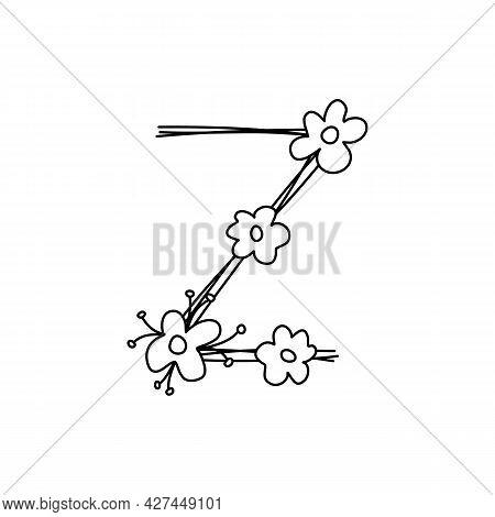 Vintage Floral Bold Letter Z Logo Spring. Classic Summer Letter Design Vectors With Black Color And