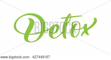 Detox Text Vector Logo Lettering Isolated On White Background. Illustration Handwritten Lettering Di